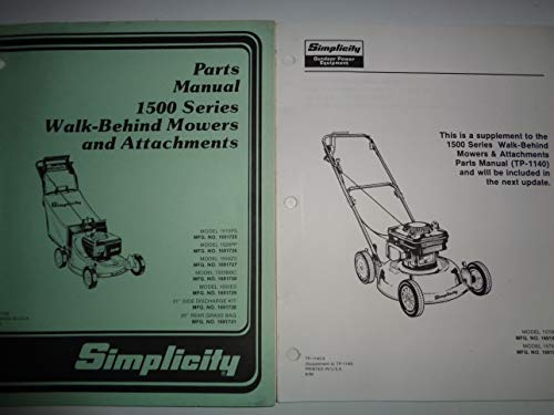Simplicity 1500 Series Walk-Behind Lawn Mowers Parts Catalog Manual TP1140 2/89