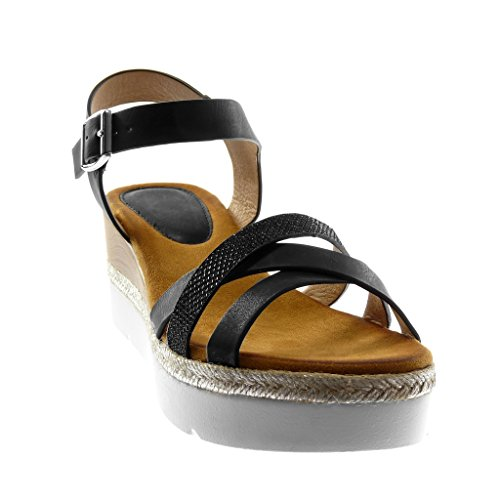 5 Punottu Ainoa Cm Musta 6 Sandaalit Muoti Nilkkalenkki Hihnat Wedge Naisten Multi Platform Sneaker Angkorly Strassi Kengät Muulin 8fZWZ7