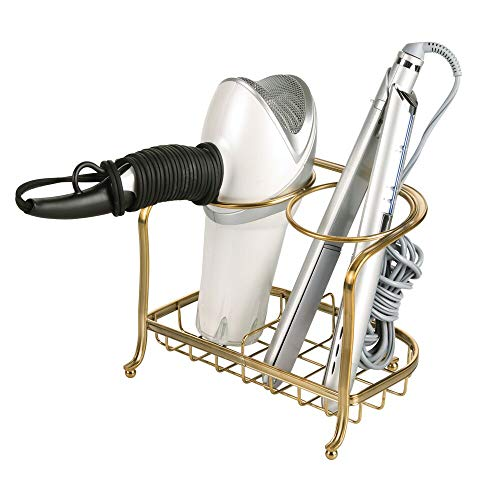 mDesign Metal Bathroom Vanity Countertop Hair Care & Styling Tool Storage Organizer Holder for Hair Dryer, Flat Irons, Curling Wands, Hair Straighteners - 2 Sections, Heat Safe - Soft Brass