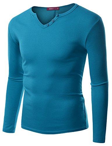 Doublju Men Trendy Longsleeve Regular Fit Slub Notch T-Shirt Teal,M (Ringspun Long Sleeve Turtleneck)