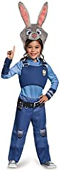 Do some detective work along side your favorite fox pal in this Zootopia Judy Bunnyhopps child size costume. Comes with blue officer jumpsuit with printed trousers and vest with badge, and Judy Bunnyhopps character headpiece. Pairs well with ...