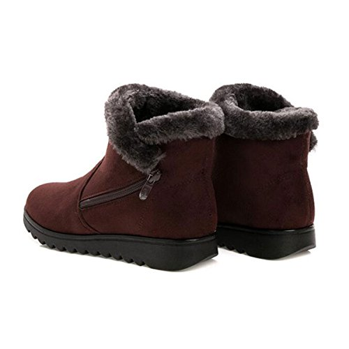 Pull Fur M Shoes on Lined US 5 Brown Button Flock Ankle Snow 2 Winter B Boots Booties Womens 00RwBHqr