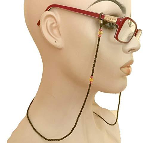 Black Eyeglass Chain Holder Hand Beaded
