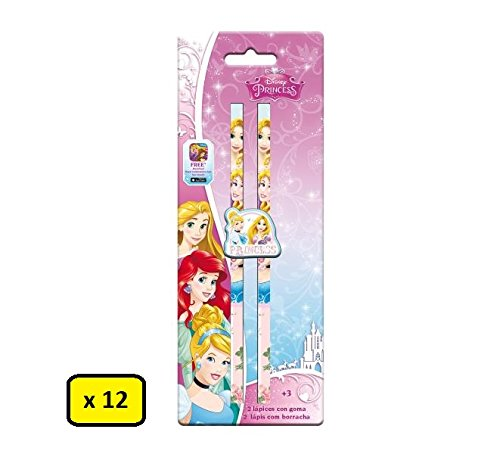 Partylandia Shop Box 12 Set mit 2 Disney-Prinzessinnen mit Gummi, Mehrfarbig, AST1128