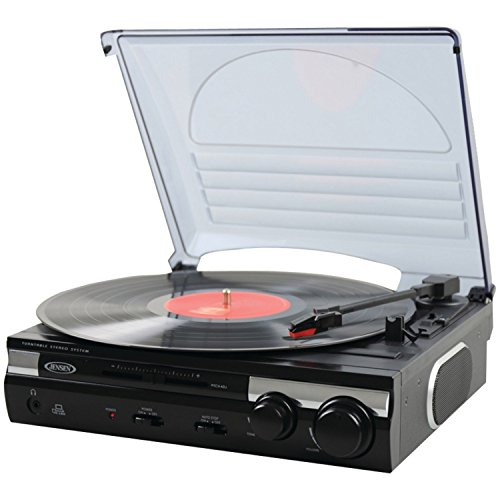 Jensen JTA-230 3 Speed Stereo Turntable with Built in Speakers, Aux in, Vinyl to MP3 Converting/Encoding by Jensen