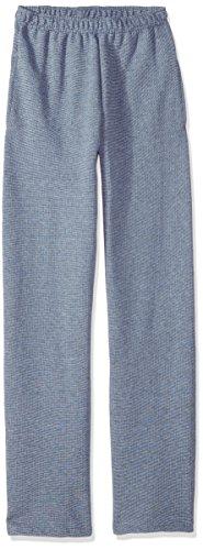 Fruit of the Loom Boys' Big' Fleece Open Bottom Sweatpant, Smoke Blue Stripe/T.Blue Heather, Large