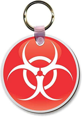 Round Shape Keychain (Rikki Knight Red White Biohazard Sign Design Round Shape Key Chains (Set of 2),)