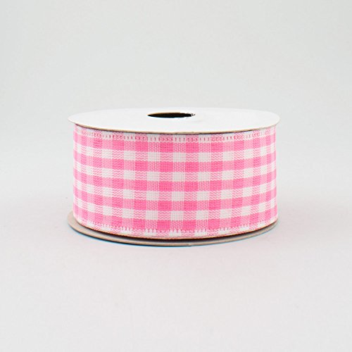 Pink White Gingham Check Wired Ribbon (1.5 Inch x 10 Yards) : RG010481L