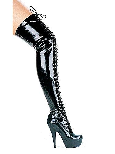 Top Totty Extreme Oberschenkel High Black Patent Schnürstiefel Fetisch Pony spielen
