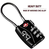 Small Combination Padlock - Travel TSA Lock - Cable Luggage Lock for Bag, Suitcase, Backpack