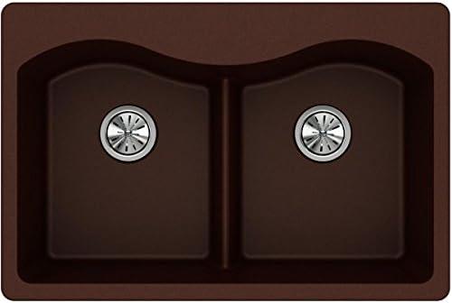 Elkay Quartz Classic ELGLB3322PC0 Pecan Equal Double Bowl Top Mount Sink with Aqua Divide