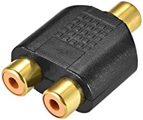 uxcell RCAメス-2 RCAメスコネクタ ステレオオーディオビデオケーブルアダプタースプリッター ブラック