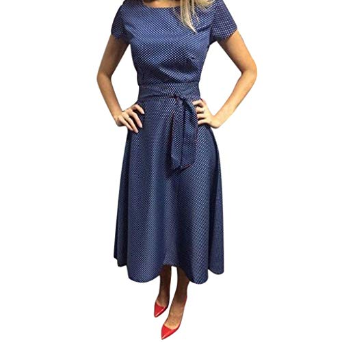 Women Polka Dot Swing Dress - Ladies Vintage Boat Neck Tie Knot Front Shorts Sleeve Flare Dresses - Elegant Knee Length Dress (XXL, Blue)