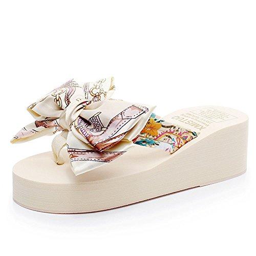 à Sandales Chaussures 5 épais CHENGXIAOXUAN Femme Antidérapantes Tongs Cm Et Beige Hauteur Nouveau éponge Avec Sandales Fond Pantoufles Plat 5 Style D'été Talons OqZnPOHg