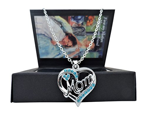 "That Perfect Gift for Mom from Daughter--""Mom"" Heart Pendant Necklace in Heartwarming Presentation Gift Box 