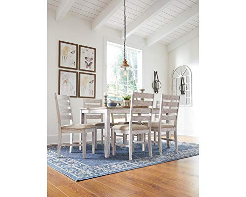 Signature Design by Ashley Skempton Dining Room Table and Chairs (Set of 7), White/Light Brown