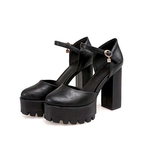 AllhqFashion Womens Soft Material Buckle Round Closed Toe High-Heels Solid Sandals Black rcYpJGqx