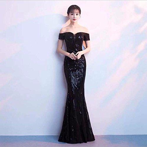 WBXAZL El Vestido de Noche es Elegante y Elegante. Black