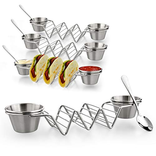 Upgrade Taco Shell Stand Up Holders-4 Pack Premium Stainless Steel Taco Holder with 8 Salad Cups & 4 Spoons,Holds 3 Tacos Each Keeping Shells Upright & Neat by U-picks (Image #7)