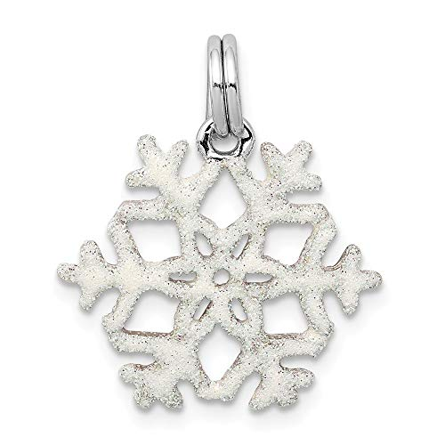 Solid 925 Sterling Silver Pendant Enameled Snowflake Charm (21mm x - Snowflake Charm Enameled