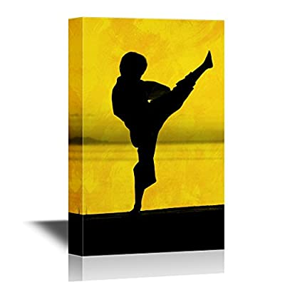 Canvas Wall Art - Silhouette of Man Practicing Kongfu - Gallery Wrap Modern Home Art | Ready to Hang - 12x18 inches