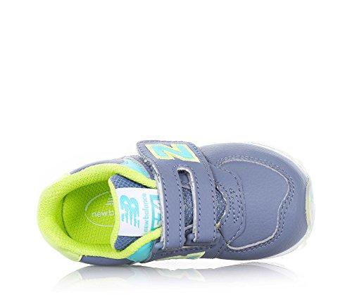 NEW BALANCE - Zapatilla deportiva gris y amarilla con cordones, en cuero y tela, con logo lateral y posterior azul, Niño, Niños