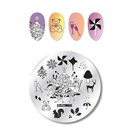 Unknown Christmas Nail Art Stamping Plate Snow Halloween Pattern Manicure Image Template Festival New Year Nails Stencil (Zjoys-109) -