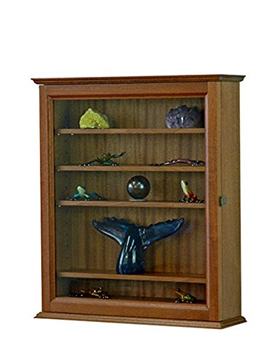 Curio Display Case Wall Cabinet Made of Sapele Hardwood in the USA