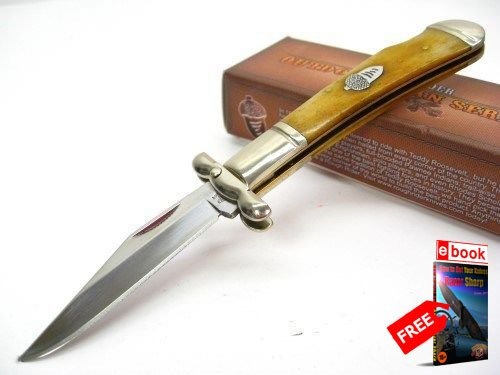ROUGH RIDER Tobacco Bone Small Swing GUARD LOCKBACK Folding Pocket Knife + FREE eBOOK by MOON KNIVES (Swing Guard Knife)