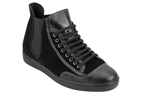 Mens Black Brown Real Suede & Leather High Top Designer Style Smart Casual Sneaker Trainers Shoes Black