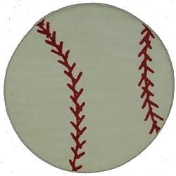 LA Rug Baseball 39-Inch Nylon Round Rug