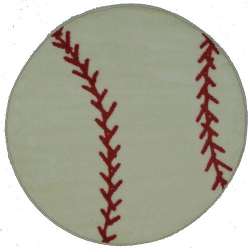 Fun Shapes High Pile Baseball Sports Rug Size: Round 3'3''
