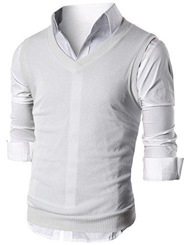 Quick Knit Vests - Ohoo Mens Slim Fit Casual V-Neck Knit Vest/DCV010-IVORY-S
