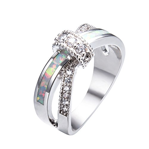 Rongxing Jewelry Womens and Girls wedding&engagement Ring,White Opal 10KT White Gold Rings (White Gold Kids Ring)