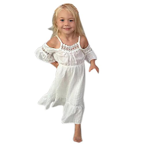DMZing Angelic White Spaghetti Strap Lace Party Dress for 18M - 5T Girls Fairy Boho Style Long Dresses (18M) ()