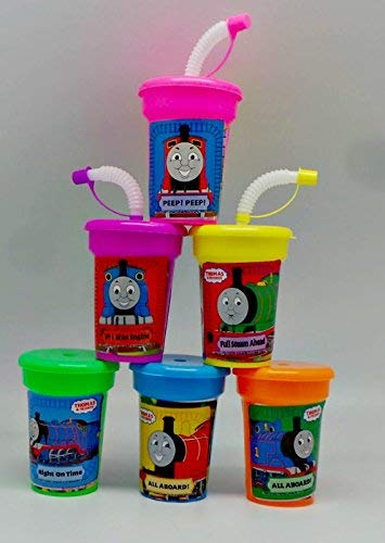6 Thomas The Tank Engine Stickers Birthday Sipper Cups with lids Party Favor Cups