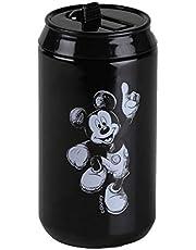 Ambition 72514 Thermoblik zwart 250ml isoleerbeker beker to go tinkbeker pers sluiting mondstuk roestvrij staal kunststof Mickey Minnie Mouse Disney kinderen geschenk modern, 18/8