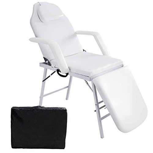 Lotus Analin 73″ Portable Tattoo Parlor Spa Salon Facial Bed Beauty Massage Table Chair White