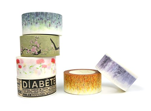 6 pcs 20mm Coloured Decorative Masking Tape / Cute Style Paper Sticky Washi Tape (6 Different Flower Patterns) Wide 0.78 inch Long 32.8 feet