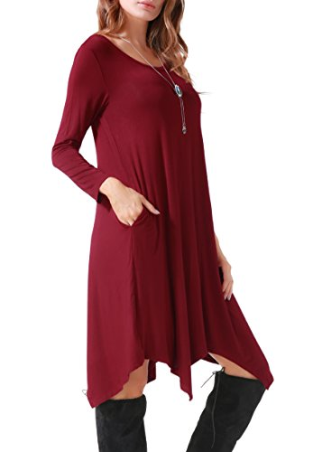 Invug Women Casual Loose Soft Crewneck Long Sleeve Pockets Swing T-shirt Dress Dark Red XXL by Invug (Image #5)