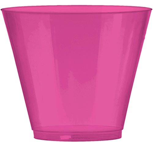 JAM PAPER Plastic Glasses Party Pack - 9 oz Tumblers - Fuchsia Hot Pink - 72 Hard Plastic Cups/Pack