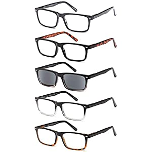 GAMMA RAY 5 Pairs Stylish Spring Loaded Readers Reading Glasses - 1.25x