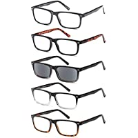 GAMMA RAY 5 Pack Spring Hinged Reading Glasses for Men and Women - Choose your Style & Magnification