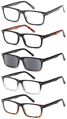 GAMMA RAY 5 Pack Spring Hinged Reading Glasses for Men and Women - With 2.50x Magnification