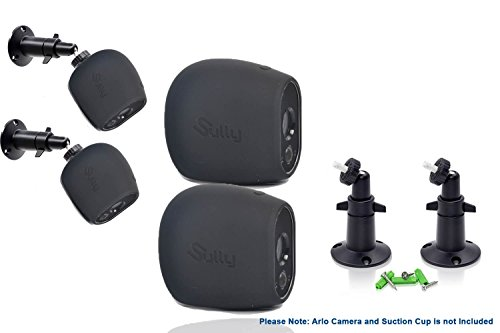 Accessories Kit for Arlo HD Camera w/ (2pcs Black) Arlo HD Skins AND (2pcs) 10cm Arlo Camera Mount Black Arlo Netgear Security Wireless Silicone Covers Skins Case Outdoors Wall Mounts by Sully (Installation Slp Kit)