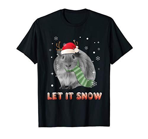 Let It Snow Guinea Pig Christmas T-Shirt Women Girl - Pig Guinea Earrings