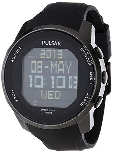 Pulsar Men's PQ2011 Stainless Steel Digital Watch with Black Polyurethane Band (Pulsar Men Watches)