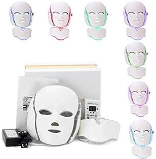Genmine 7 Colores De Luz Led Fotón Máscara De Cuello Facial Rejuvenecimiento De La Piel Eléctrica