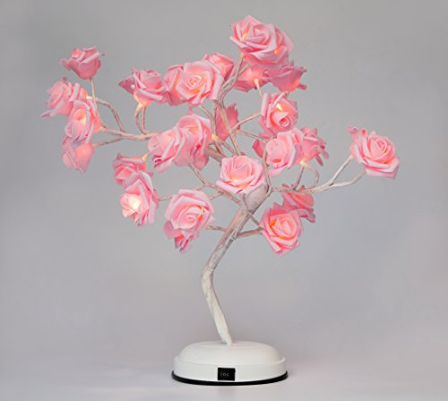 Pink Rose Lamp - GOJOOASIS Rose Flower Table Lamp Desk Pink Tree Light for Wedding Living Room Bedroom Party Home Decor 17.7 Inch with 32 LED Warm White Lights
