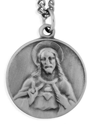 (Pewter Saint Medal with Traditional Prayer Card (Sacred Heart of Jesus))